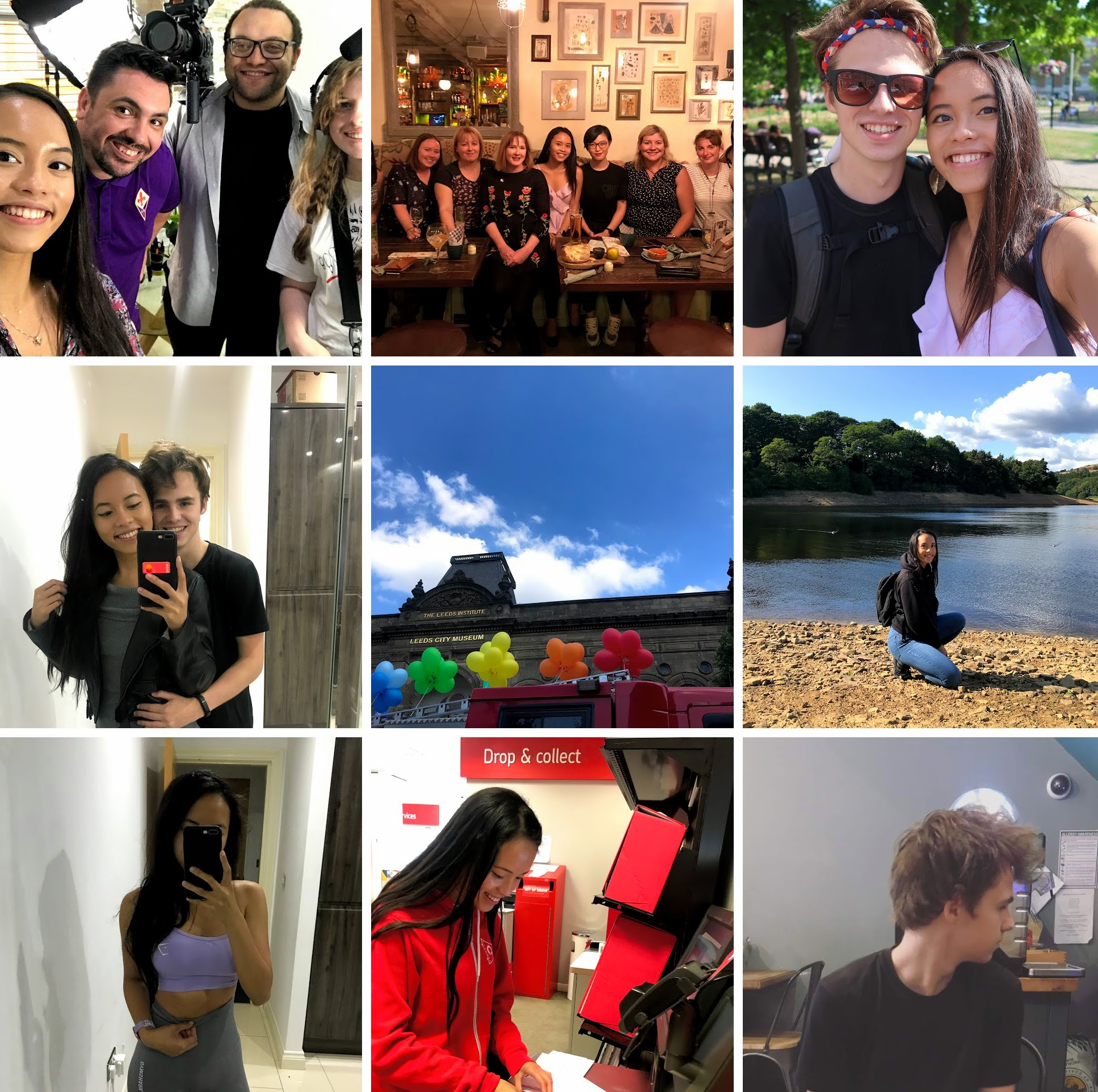 From left to right: Filming for BBC Bitesize, Women in Tech meet-up, Matt & I (x2), Leeds Pride, Damflask Reservoir, Selfie before the gym, sending stickers, Breakfast w/ Matt.