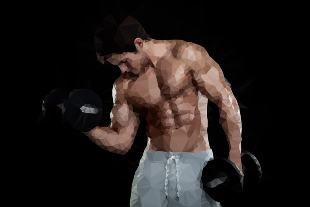 Bodybuilder_Low_Poly_Portrait