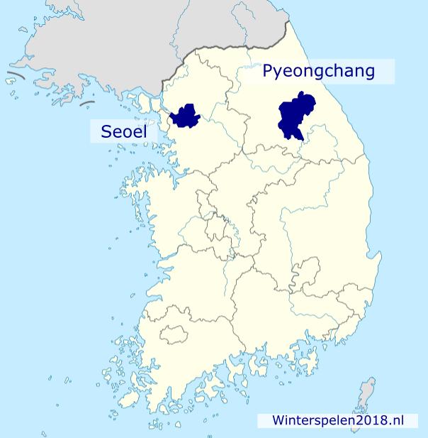 Locatie PyeonChang in Zuid-Korea