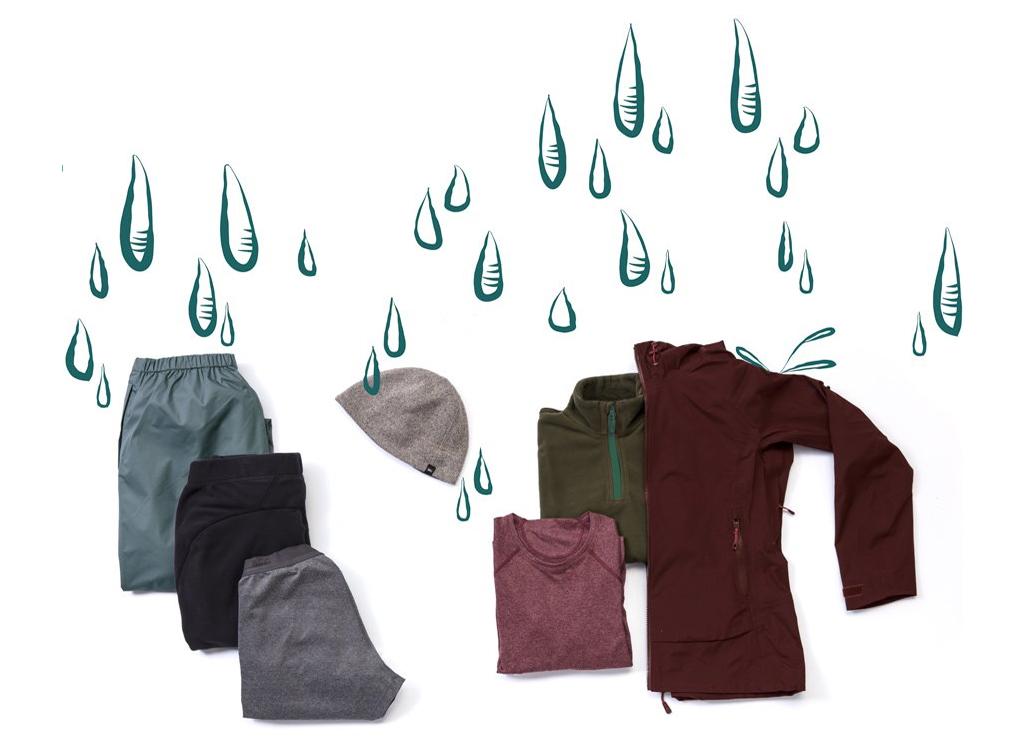 Hafif polyester üst ve alt içlik; hafif polar mont; sentetik yürüyüş pantolonları. Hafif su geçirmez / nefes alabilen yağmurluk ve pantolonlar