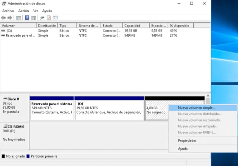 Instalar Windows sin USB ni CDs - Dar formato a nuevo volumen