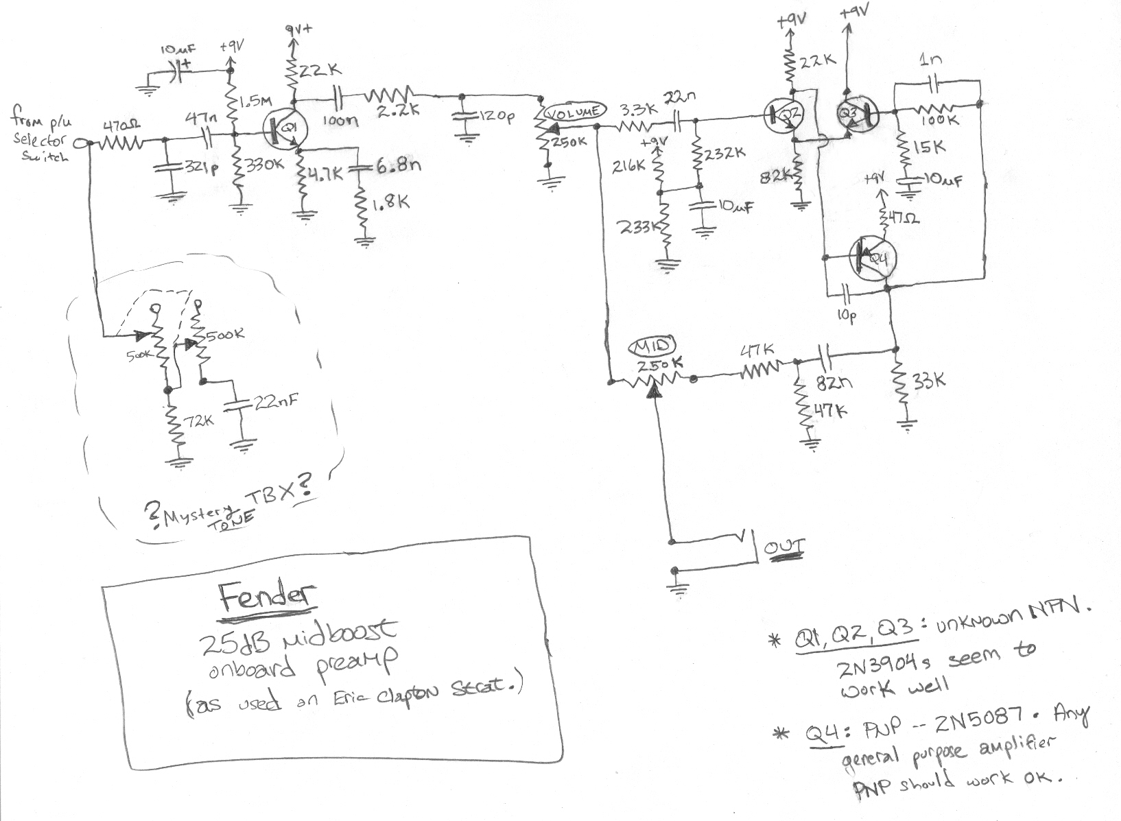 Wiring Diagram For Fender Clapton Mid Boost Kit | Wiring Liry on
