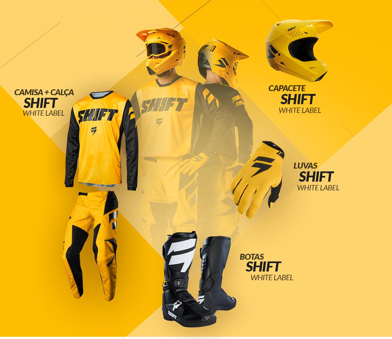 Kit Calça + Camisa, Capacetes, Luva e Bota Shift MX