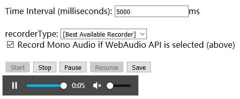 Audio recording problem while using Media stream recorder in MVC
