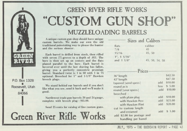 Green River Rifle Works makers marks Jul75_Buckskin_Report_ad