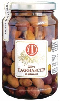Glass jar with Taggiasca olives (Taggiasche olive),