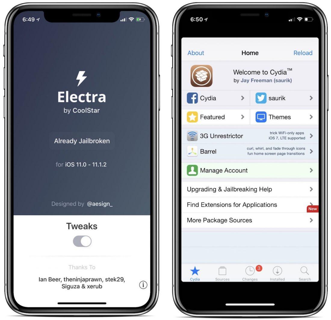 Comment jailbreaker iOS 11 et iOS 11.1.2 via Electra en 2018 Jailbreak_i_OS_11_Electra_Cydia_1100x1064