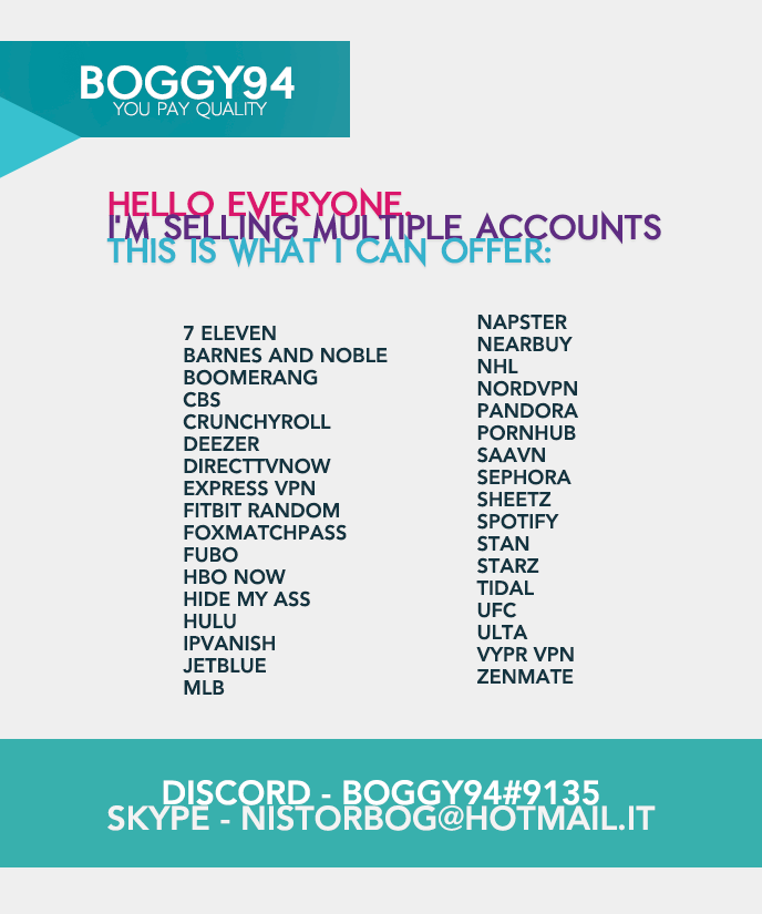 Boggy94 - 25+ Products, Food - Porn - TV - Music - Points Acs