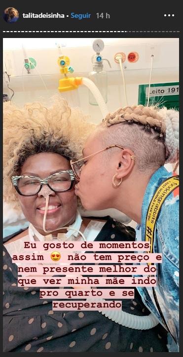 Talita Cipriano vibra com a saída de sua mãe Deise da UTI e celebra seus 15 anos ao lado dela no hospital