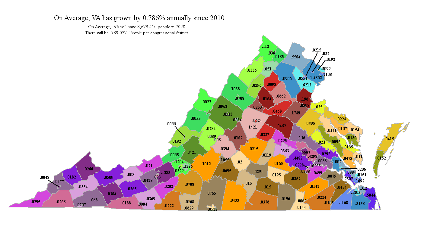 Virginia 2020 County Projection Map