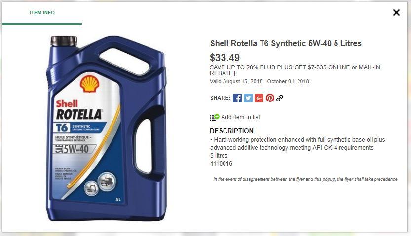 UFA] Rotella T6 Synthetic 5W40 5L $33 49 - $7 Rebate - RedFlagDeals