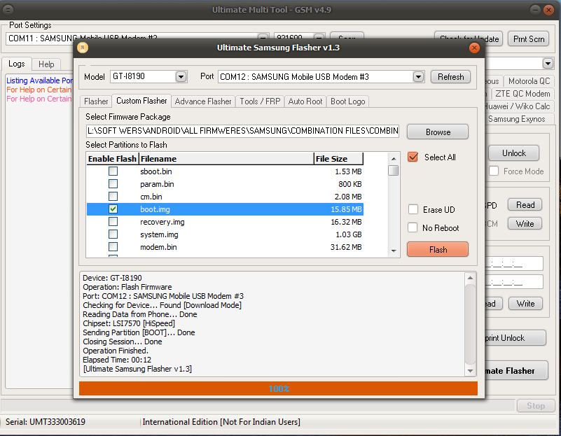 samsung j570f after write boot img file auto restart plz