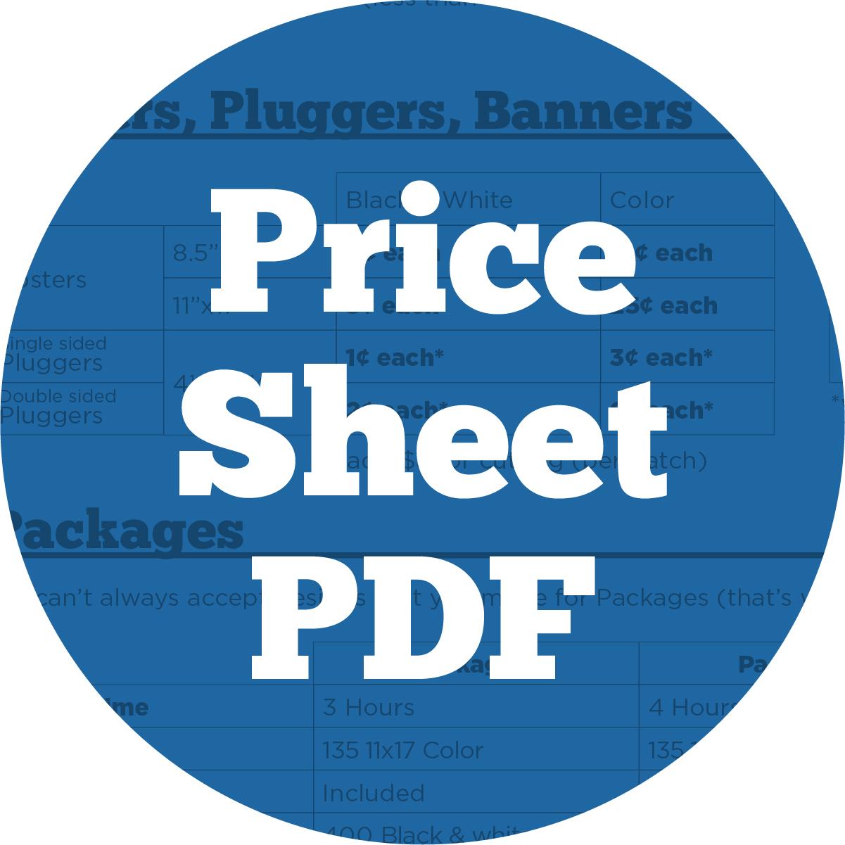 Price Sheet PDF