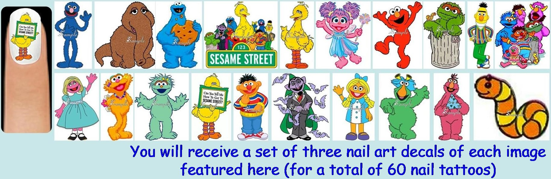 60x Sesame Street Or Abby Or Elmo Or Cookie Or Oscar Nail Art Decals