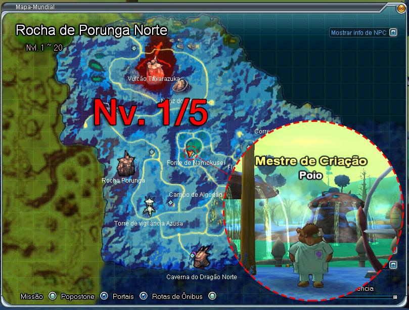 Mapa dos Nameks - Nível 1 ao 5