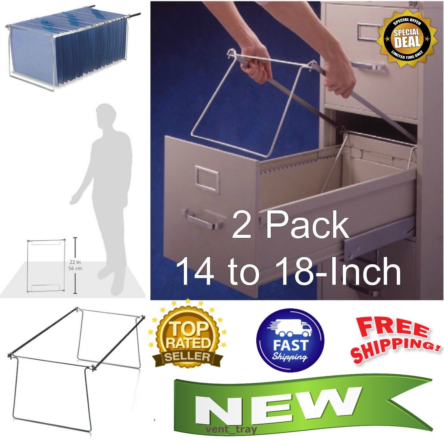 Details About 2 Pack Office File Folder Frame Hanging Letter Size Holder Drawer Cabinet Rack