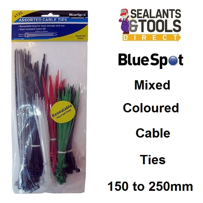 BlueSpot Mixed Coloured Cable Ties 40062