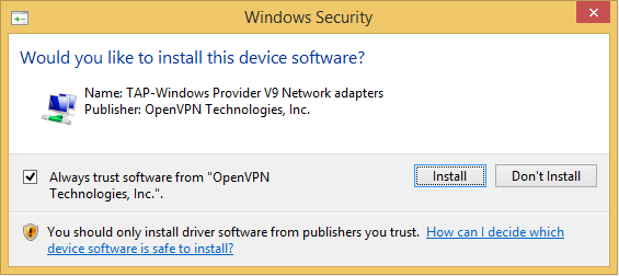 How to make openVPN work over windows 8.1 firewall as a private TAP