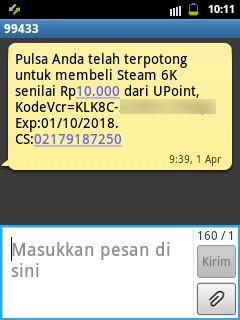 SMS Pembelian Steam Wallet Berhasil