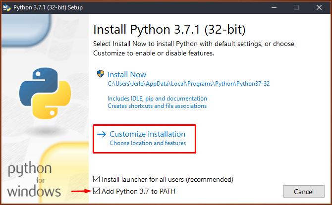 Youtube-dl - Install Python Setup 1