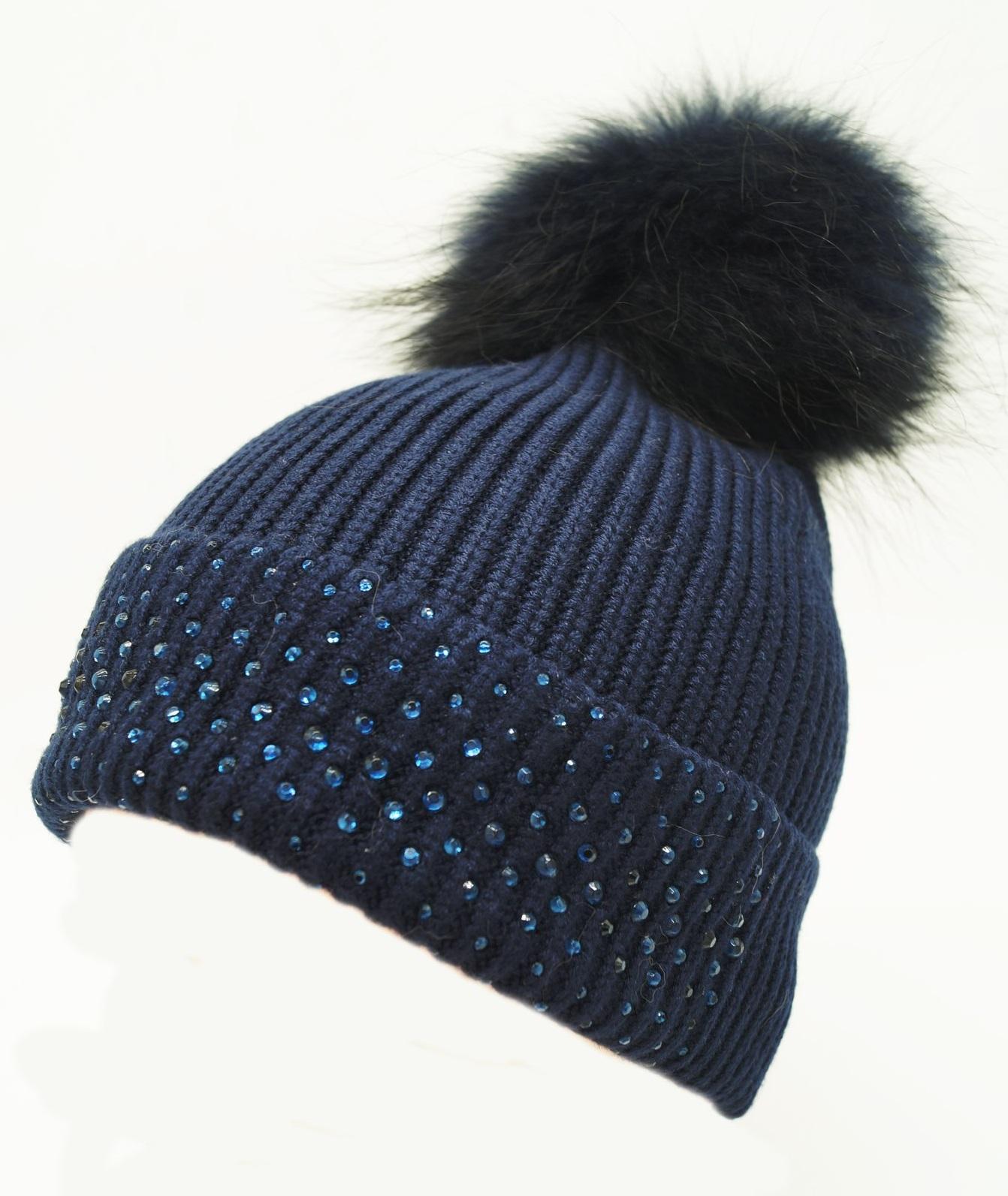 c55e6f59e8d2d Womens Wool Ribbed Hat Diamante Winter Detachable Pom Pom Caps ...