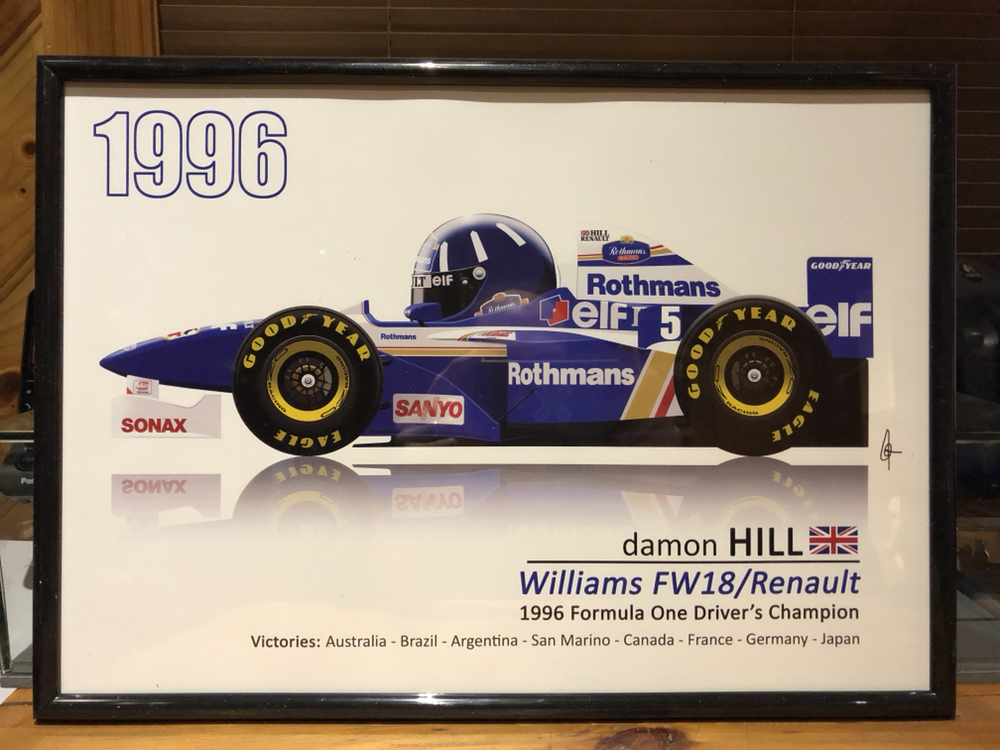 1996 damon hill f1 race poster dvd williams fw18 renault