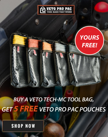 Five Free pouches with purchase of a Veto Tool Bag