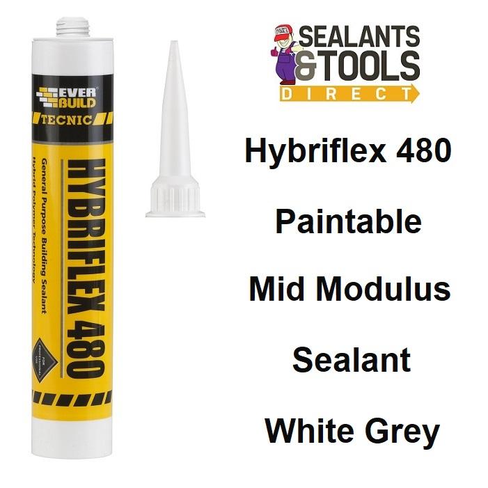 Everbuild Tecnic Hybriflex 480 Paintable Sealant Grey White