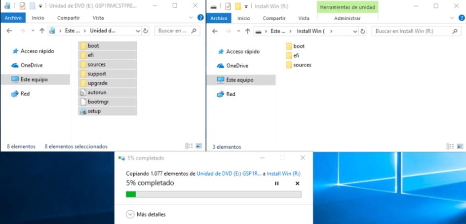 Instalar Windows sin USB ni CDs - Copiando ISO a nuevo Volumen