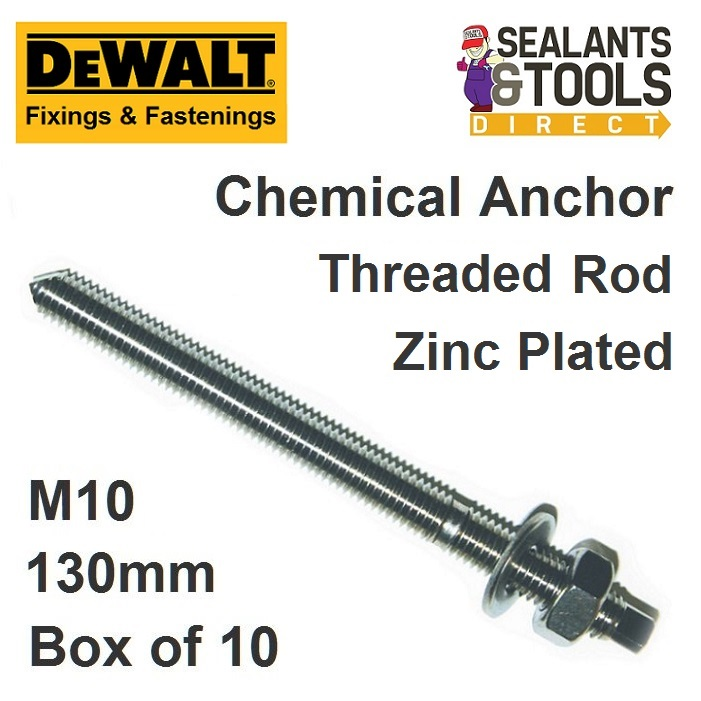 Dewalt M10 Chemical Anchor Stud Zinc Chisel point
