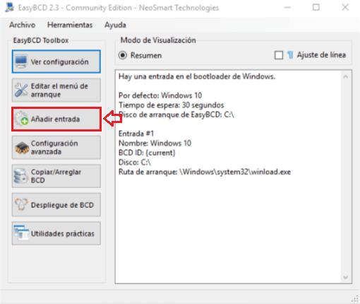 Instalar Windows sin USB ni CDs - Interfaz de EasyBCD