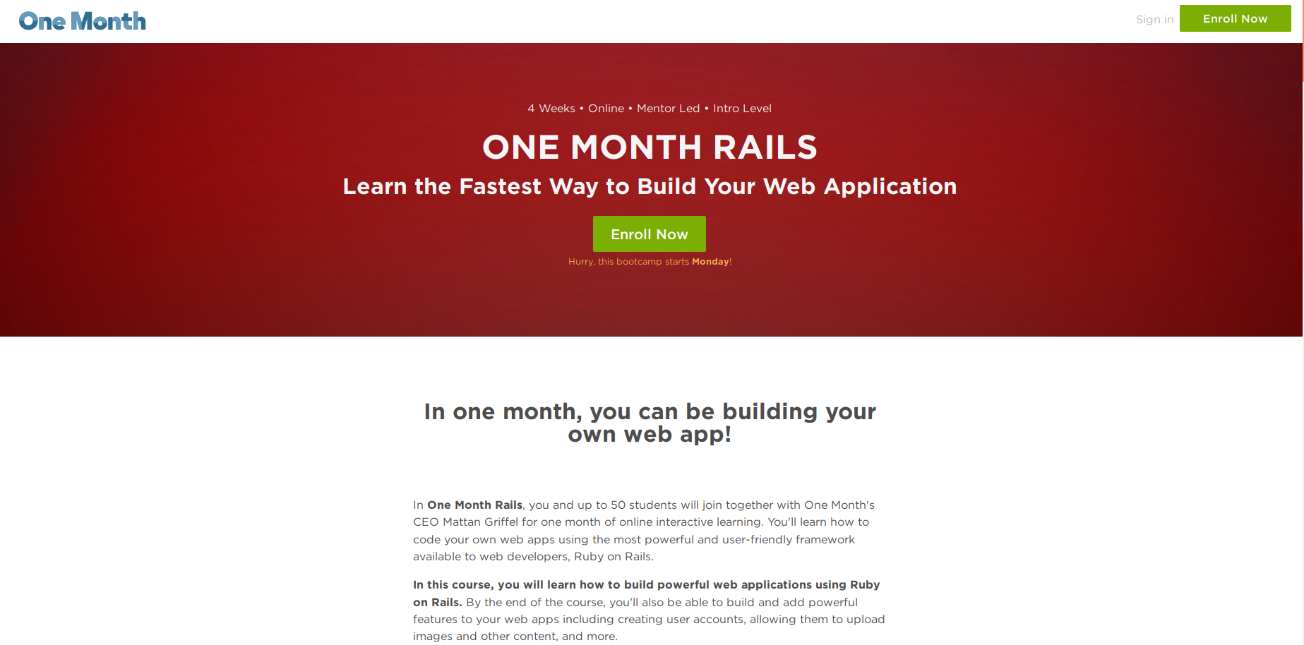 one month rails | 41studio