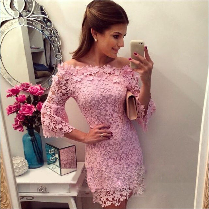 Women Lace Flowers Sexy Club Party Dress Spring Autumn Midi Vestidos ...