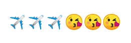 3 airplane emoji followed by 3 kissing face emoji