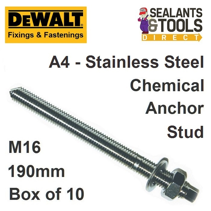Dewalt Chemical Anchor Stud A4 Stainless Steel M16 190mm Box 10