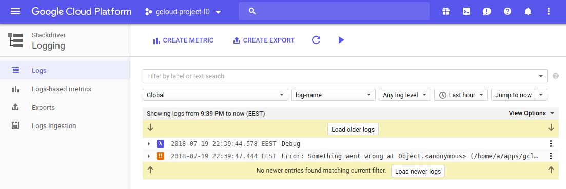 Stackdriver logs screenshot