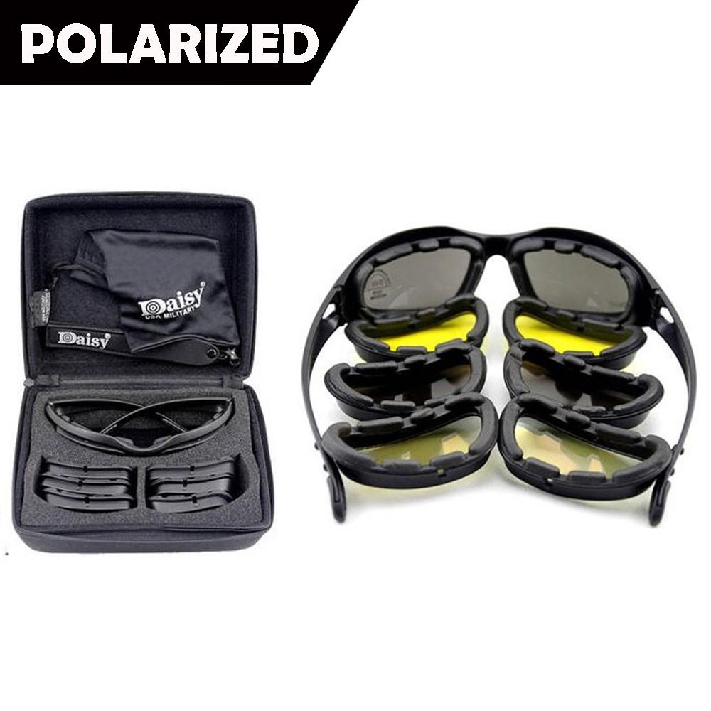 49bc8665c7 Army Sunglasses 4 Lens Kit Military Goggles Polarized Daisy War Game ...