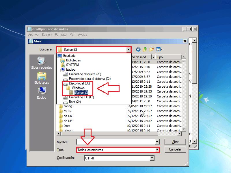 Explorador de archivos System32 - Borrar clave en Windows 7
