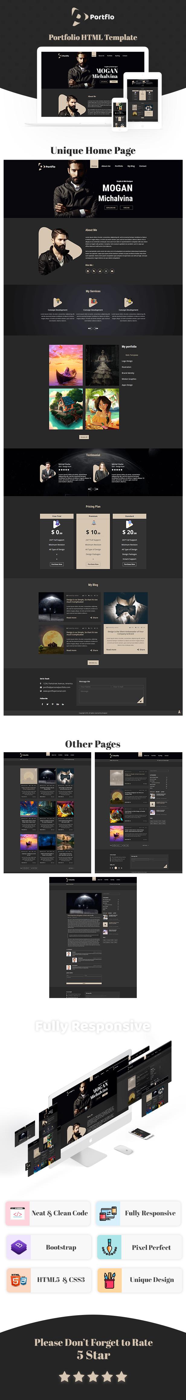 Portflo - Portfolio Landing Page HTML Template by themepoo | ThemeForest
