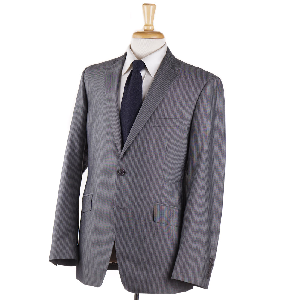 438f0ec4ab118 Details about $2375 ETRO Gray Stripe Lightweight Wool and Silk Suit Slim 40  R Paisley Lining