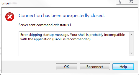 Connecting to Octopi (0 15 1) and getting shell error
