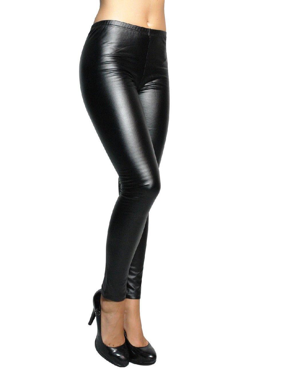 Leggings leggings effetto bagnato effetto Pelle Look Nero Termici Donne Uomini M-XL