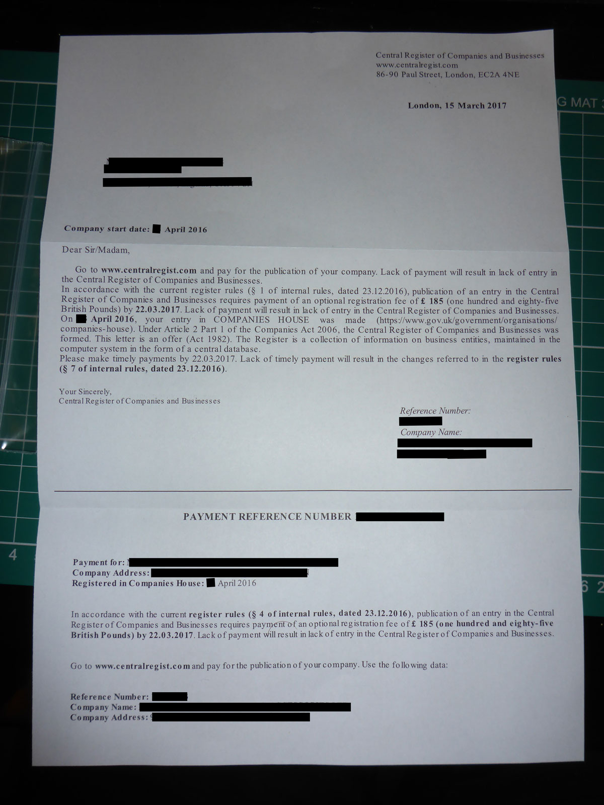 Central Register Of Companies And Businesses Letter