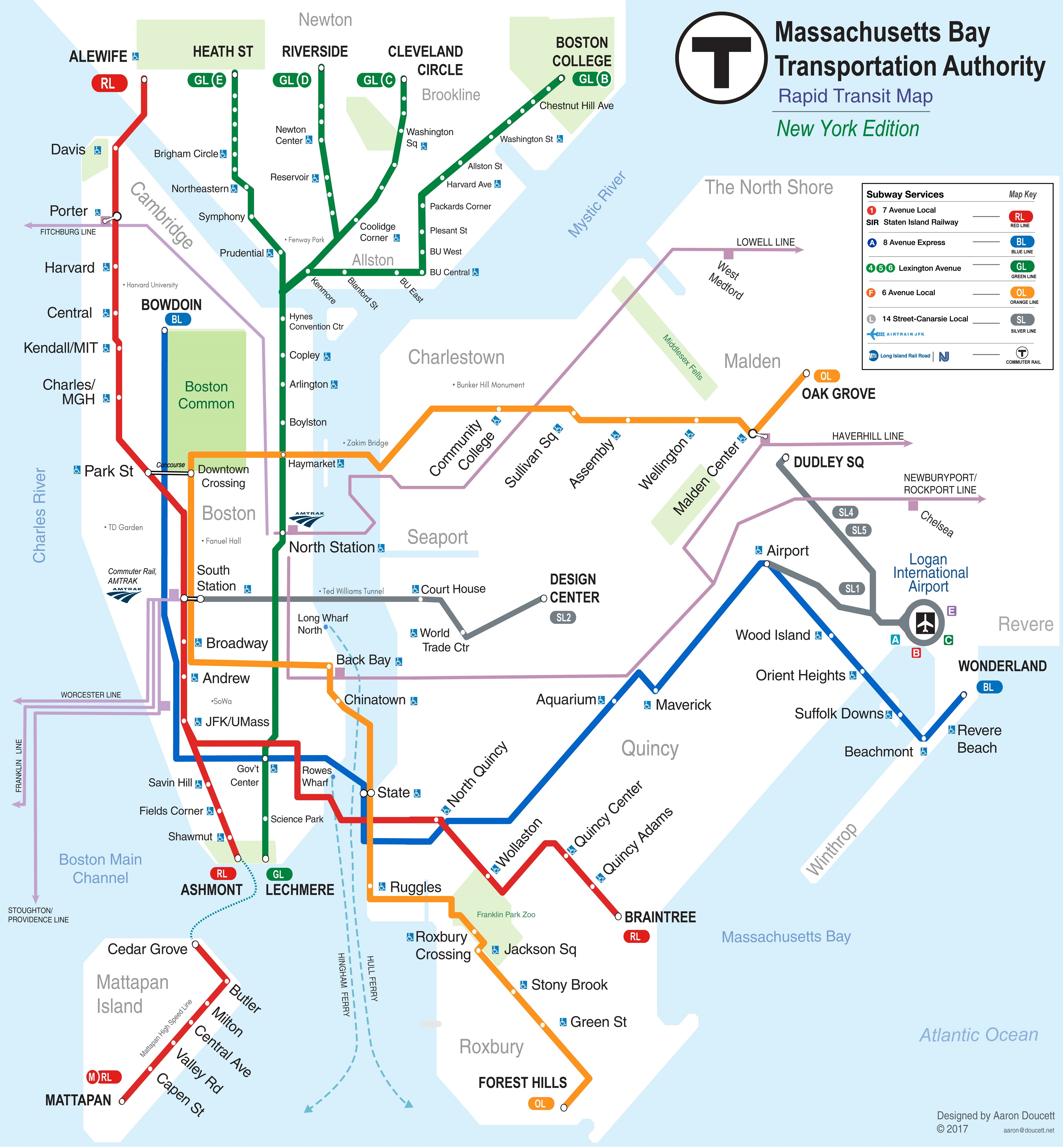Nyc Subway Map Express Trains.Nyc Subway Map Re Imagined As Boston Oc 4000x4319 Mapporn