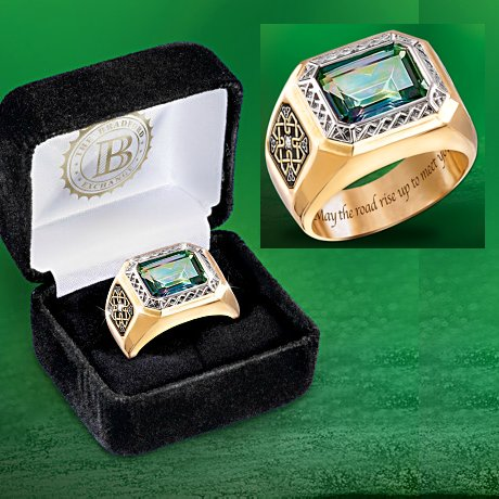 Pride Of Ireland Diamond And Mystic Topaz Mens Ring
