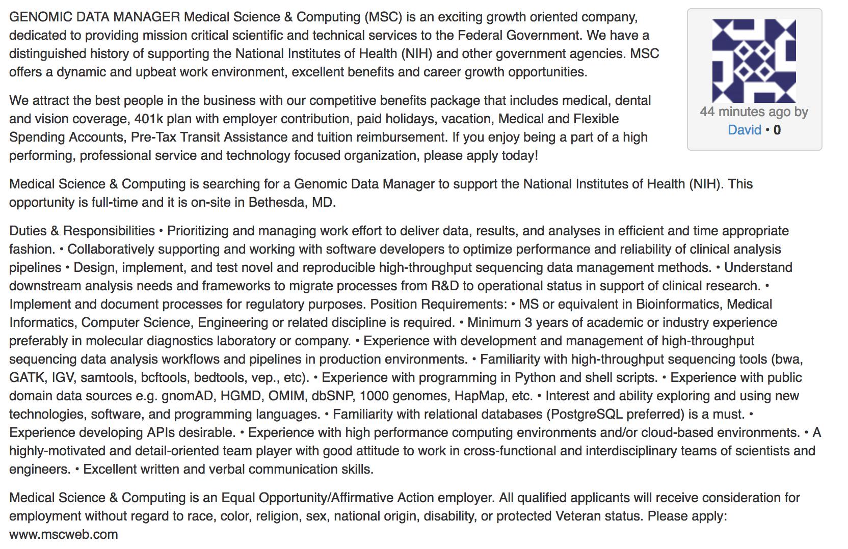 Genomics Data Manager, Medical Science & Computing (MSC
