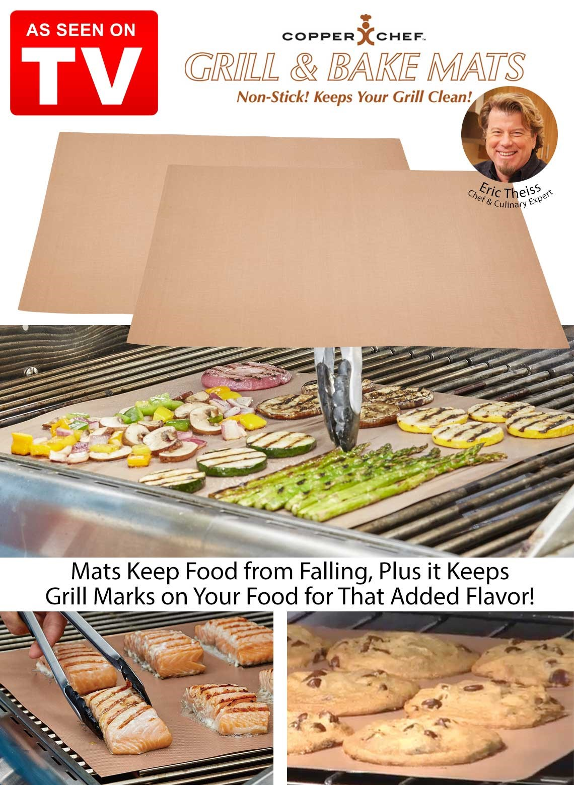 Set 2 X Copper Chef Non Stick BBQ Grill Bake Mat Nonstick