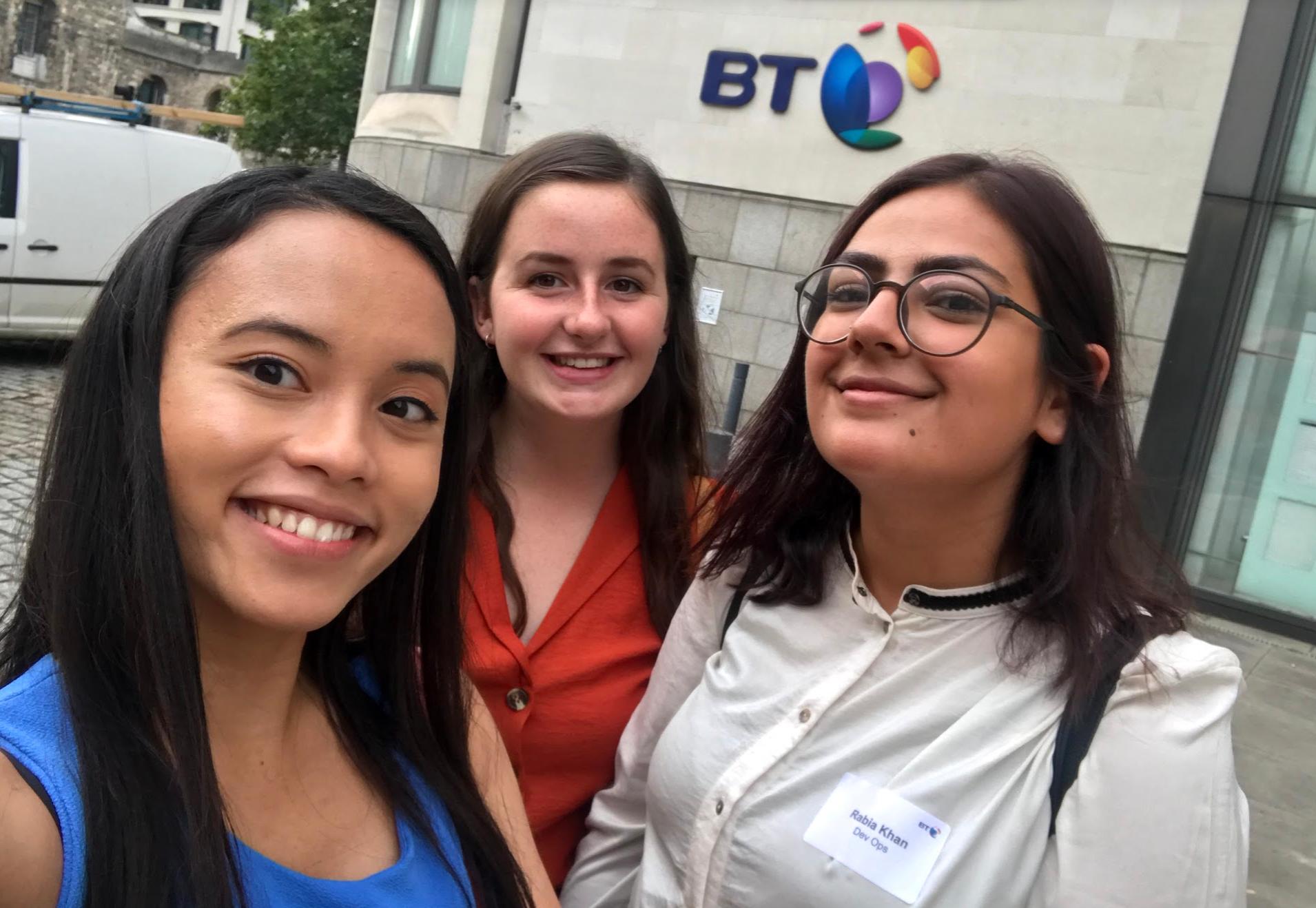 DevOps gals selfie outside BT Centre