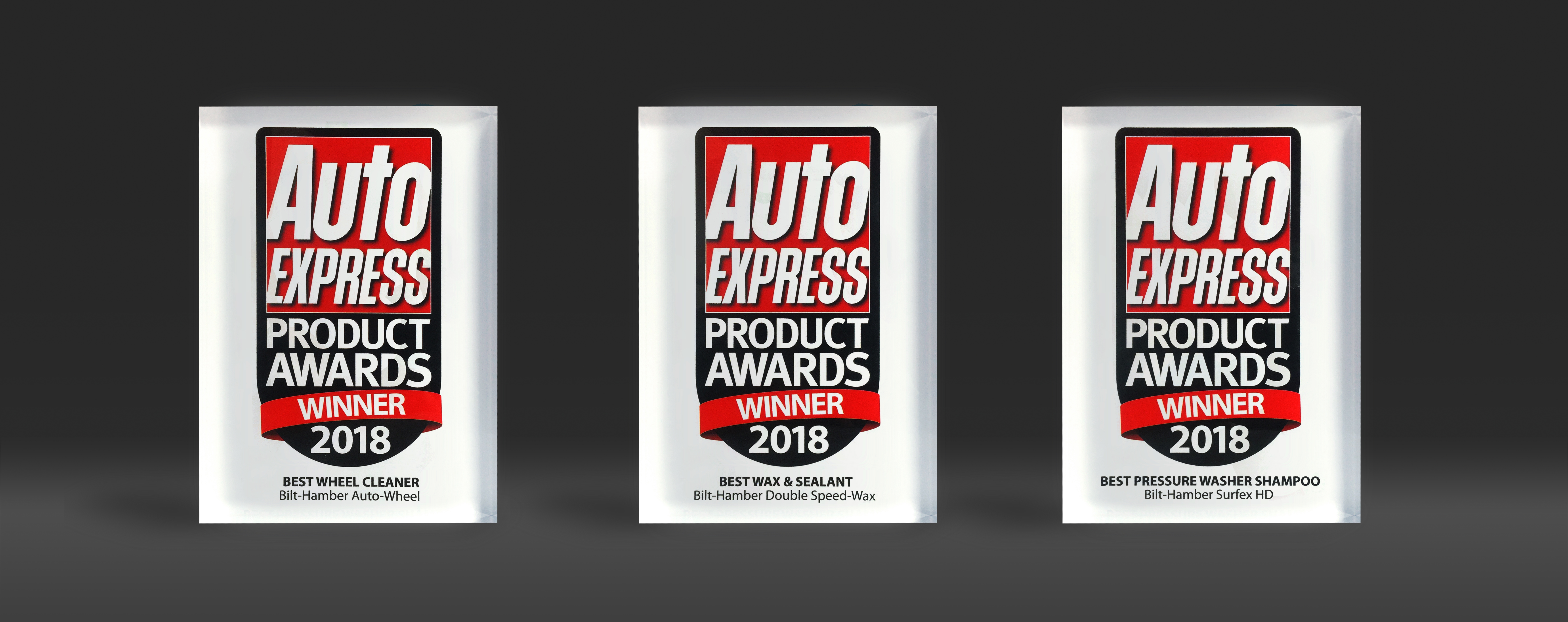 Image of three award trophies for the auto express magazine 2018 product awards. Best wax and sealant, best wheel cleaner, best car shampoo.
