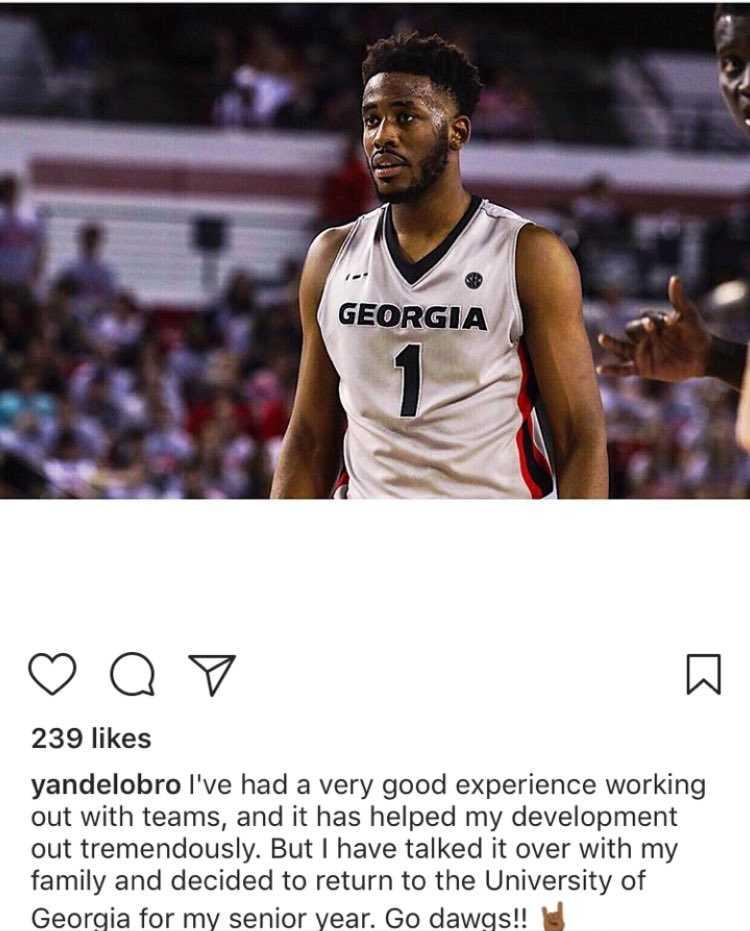 Yante Maten announces he is returning for his senior season at UGA on Instagram (Photo from Yante Maten/Instagram)